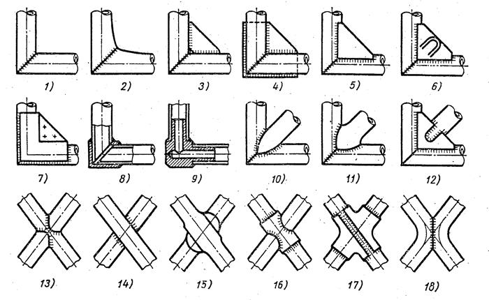 Чертежи трубчатых рам с раскосами торцов по 45 градусов