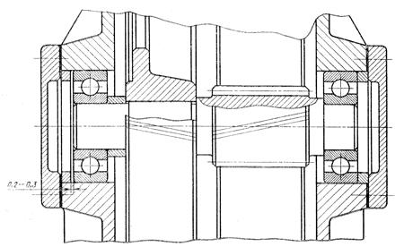 Промежуточный вал двухступенчатого редуктора